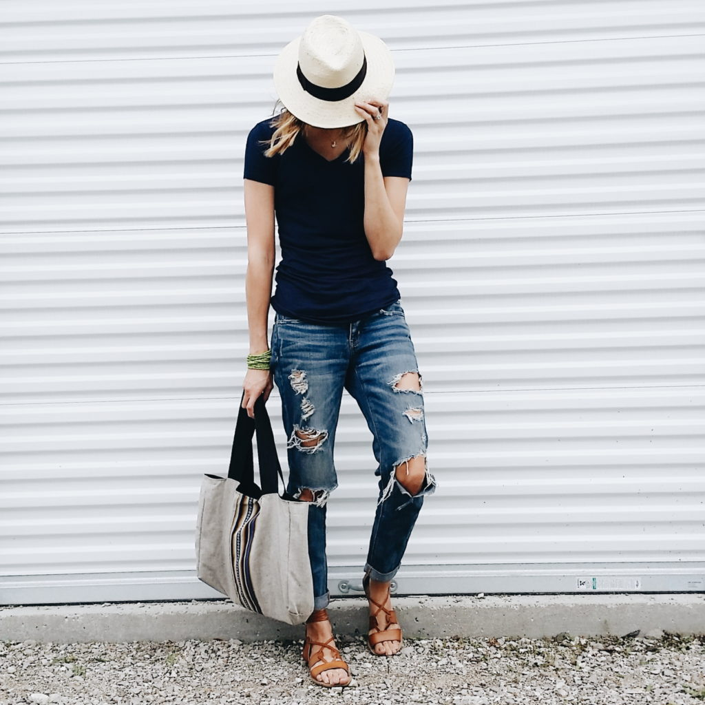 Hat: Target, Shirt: TJMaxx, Jeans: American Eagle, Bag: Joybound Apparel, Shoes: OldNavy